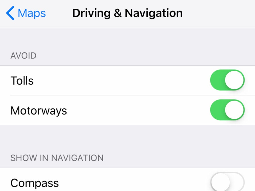 screenshot of apple maps showing the toll feature toggle