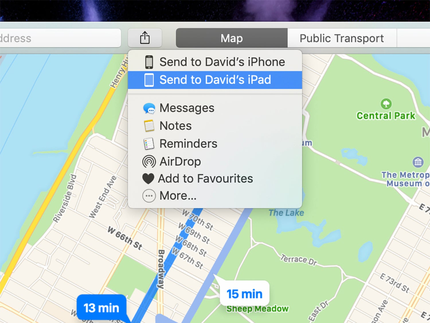 Apple maps on macOS, showing the sharing feature between devices.