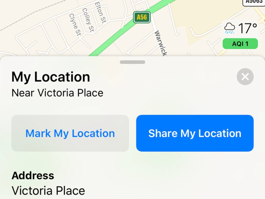 screenshot of apple maps on ios showing the sharing location feature