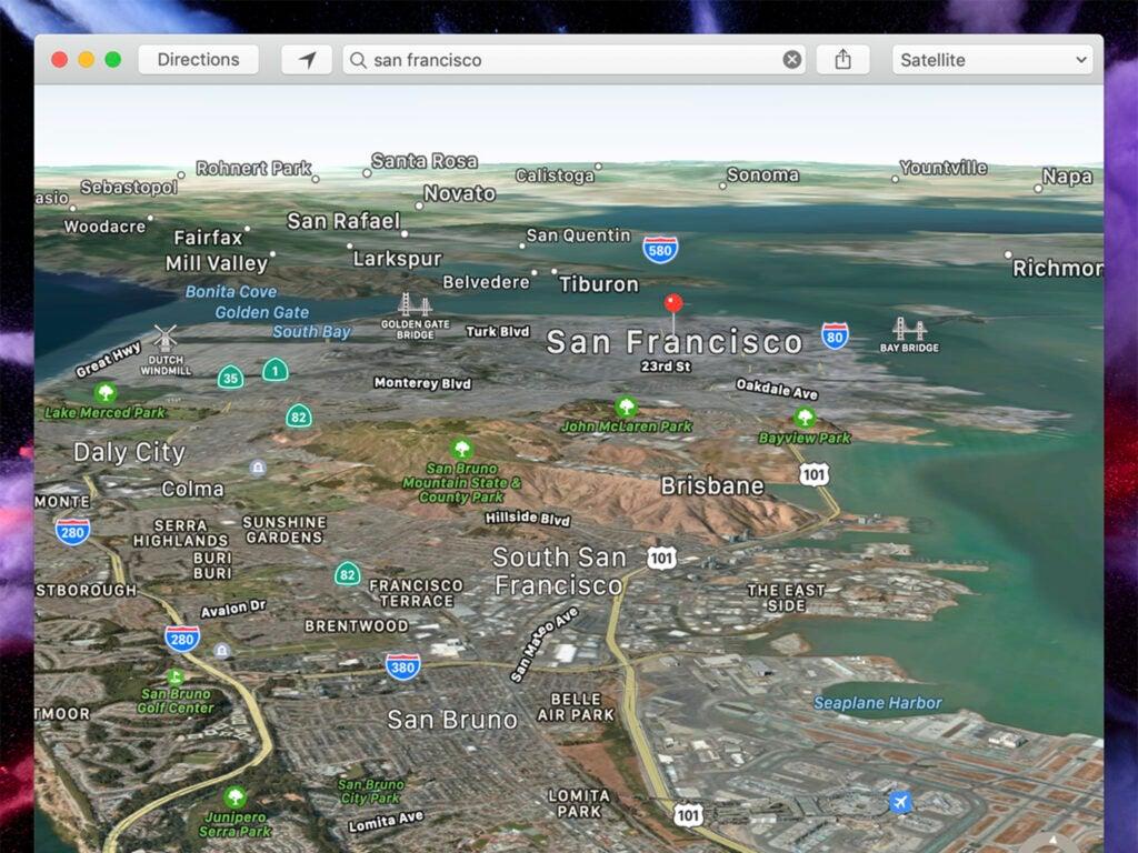 screenshot of apple maps on mac os