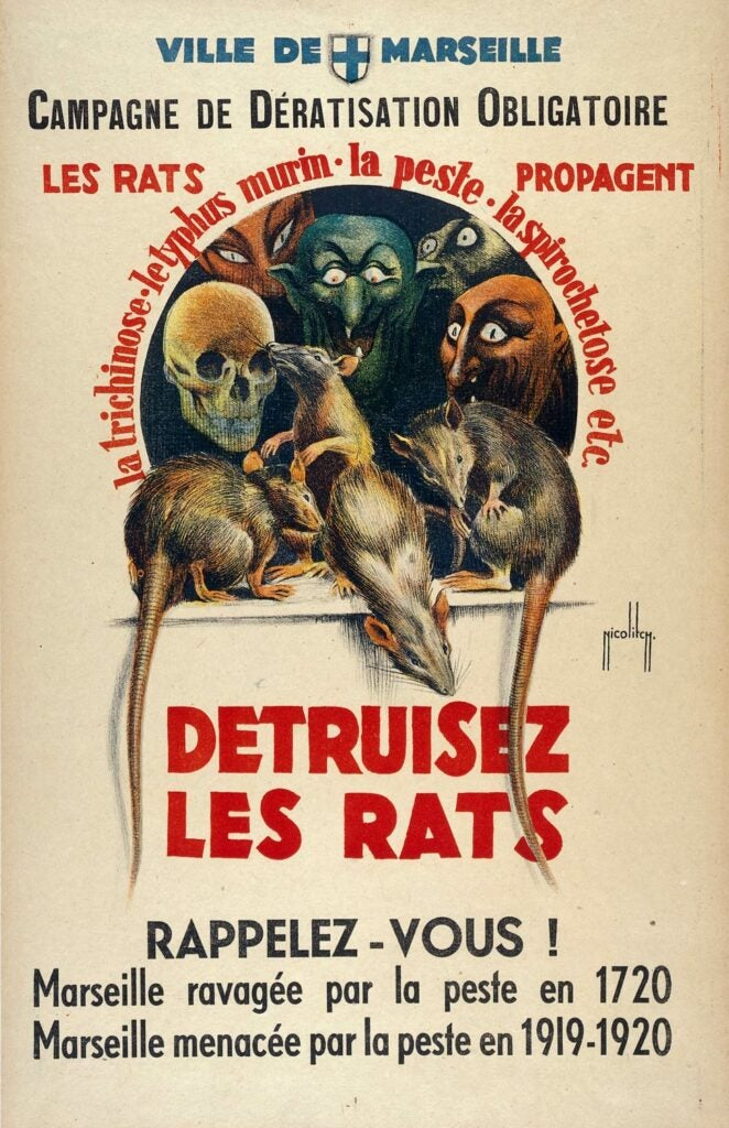 1920 French poster showing rats as monsters