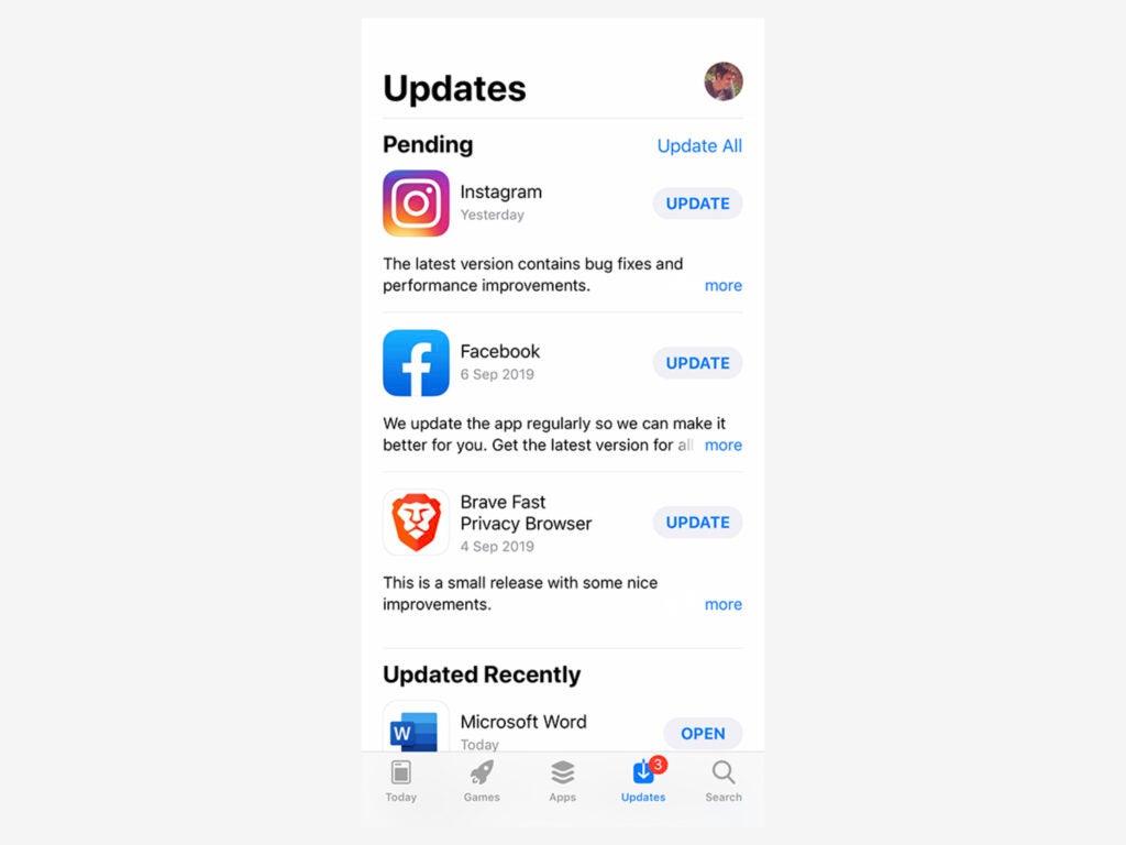 screenshot of update center on ios