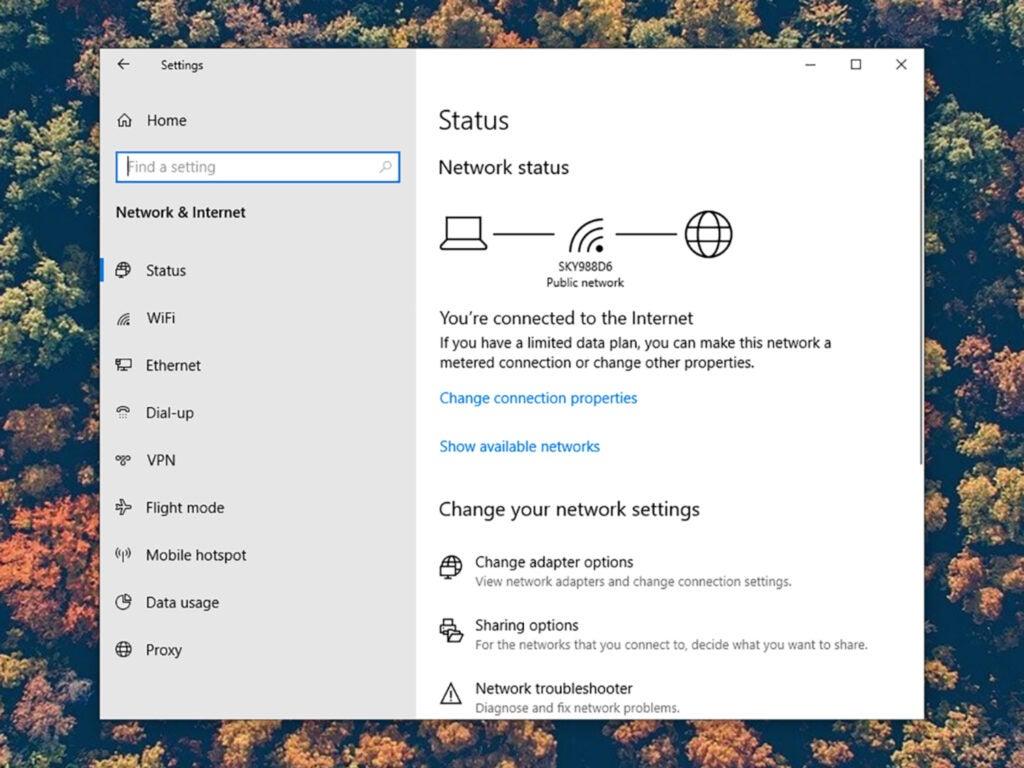 screenshot of wifi settings in windows