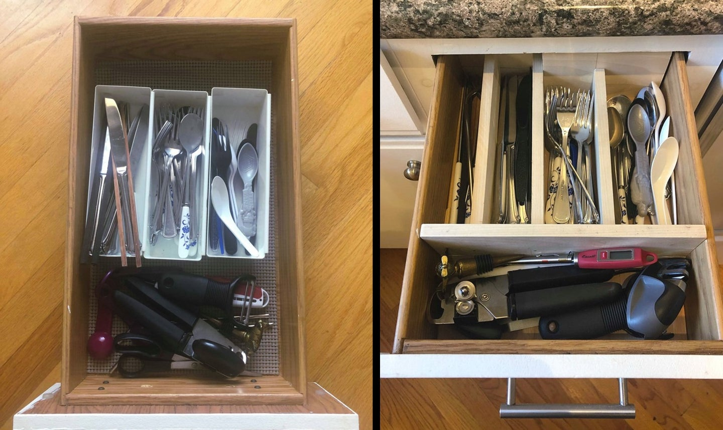 a before and after photo of a messy kitchen utensil drawer and a drawer organized with a homemade DIY drawer organizer