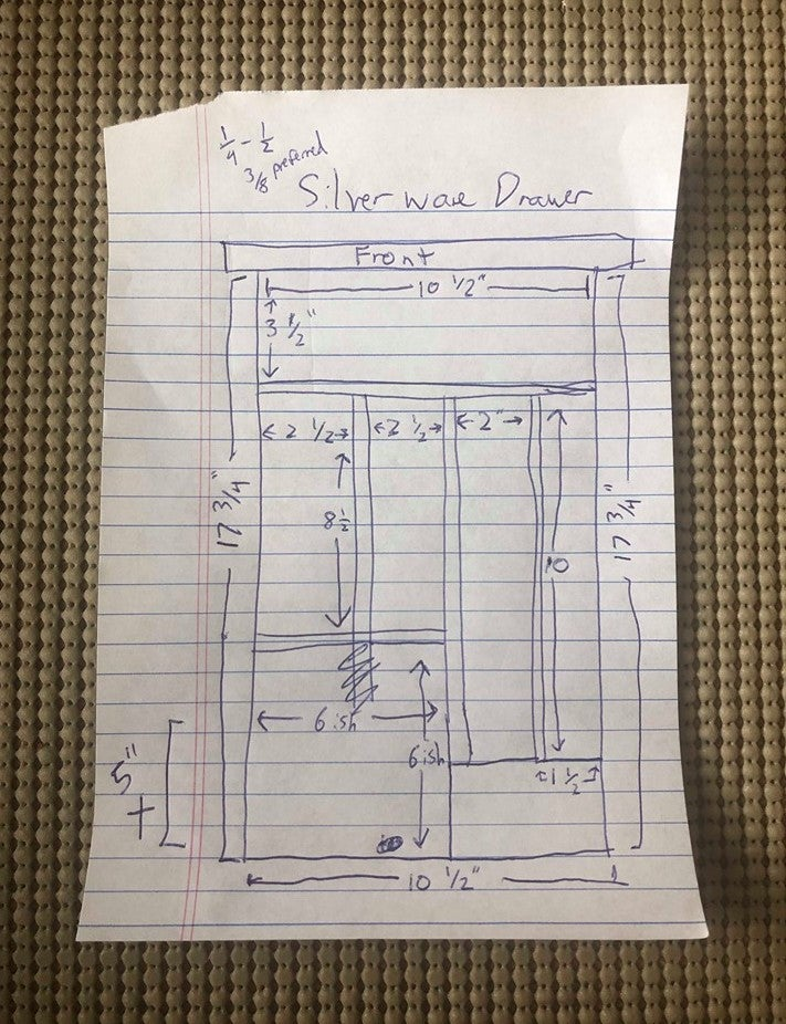 a sketch of a kitchen drawer organizer