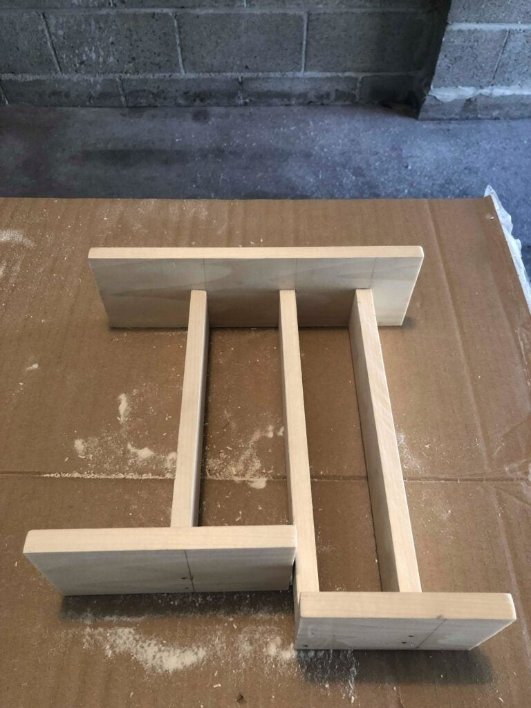the main structure of a poplar kitchen drawer organizer