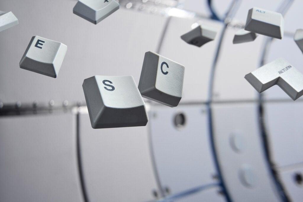 Computer keyboard keys in zero gravity