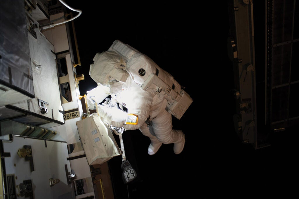 Astronaut working outside the ISS