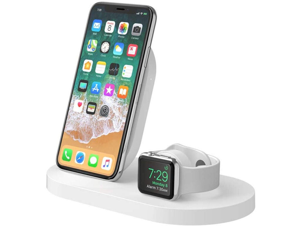 iphone and iwatch charging wirelessly on belkin wireless charger