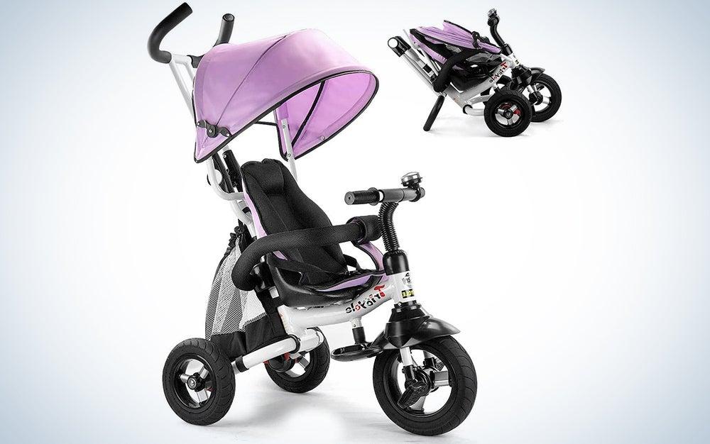 Costzon Baby Tricycle, 6-in-1 Foldable Steer Stroller