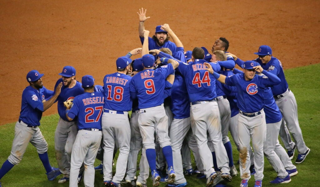 The Cubs celebrating their 2016 World Series win