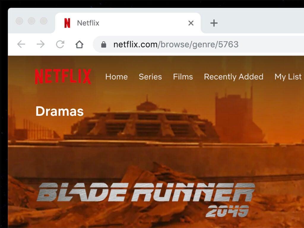 a screenshot of Netflix showing Blade Runner