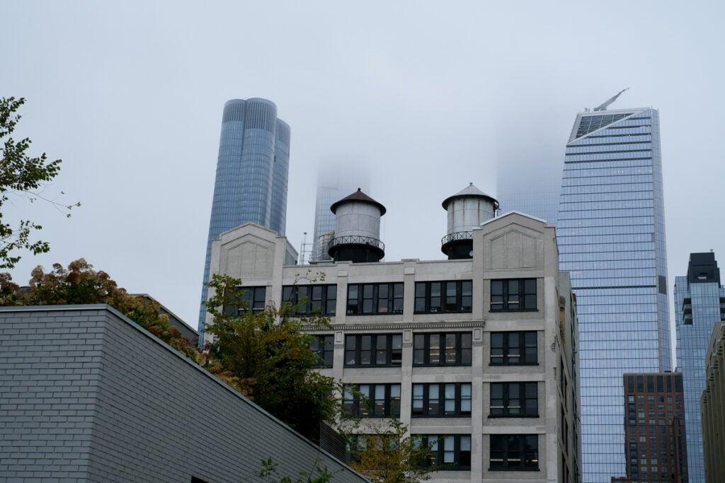 buildings on a foggy day
