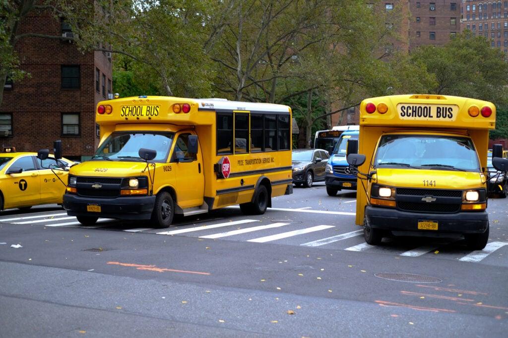 bright yellow schoolbuses