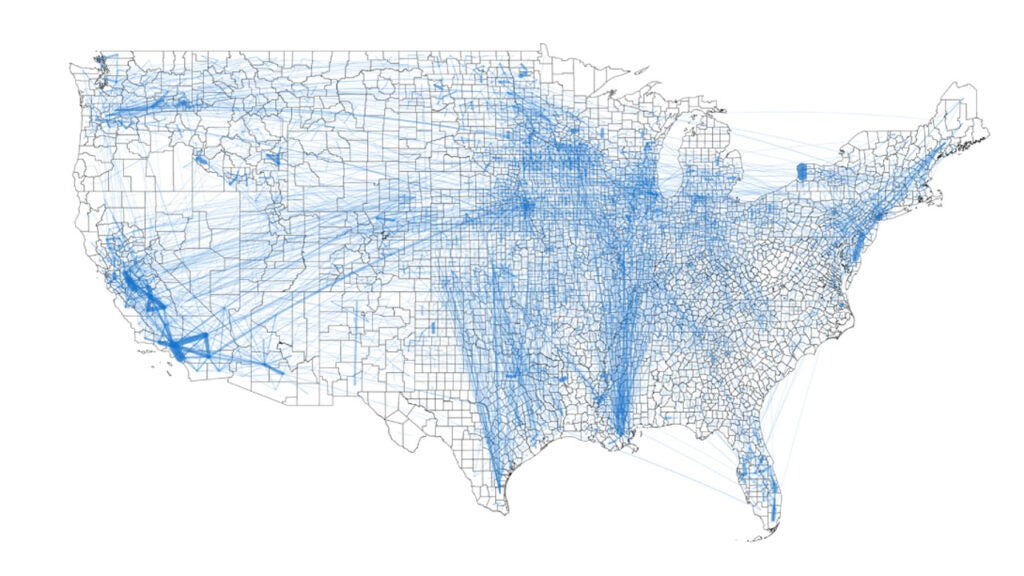 map shows how food flows between counties in the U.S.