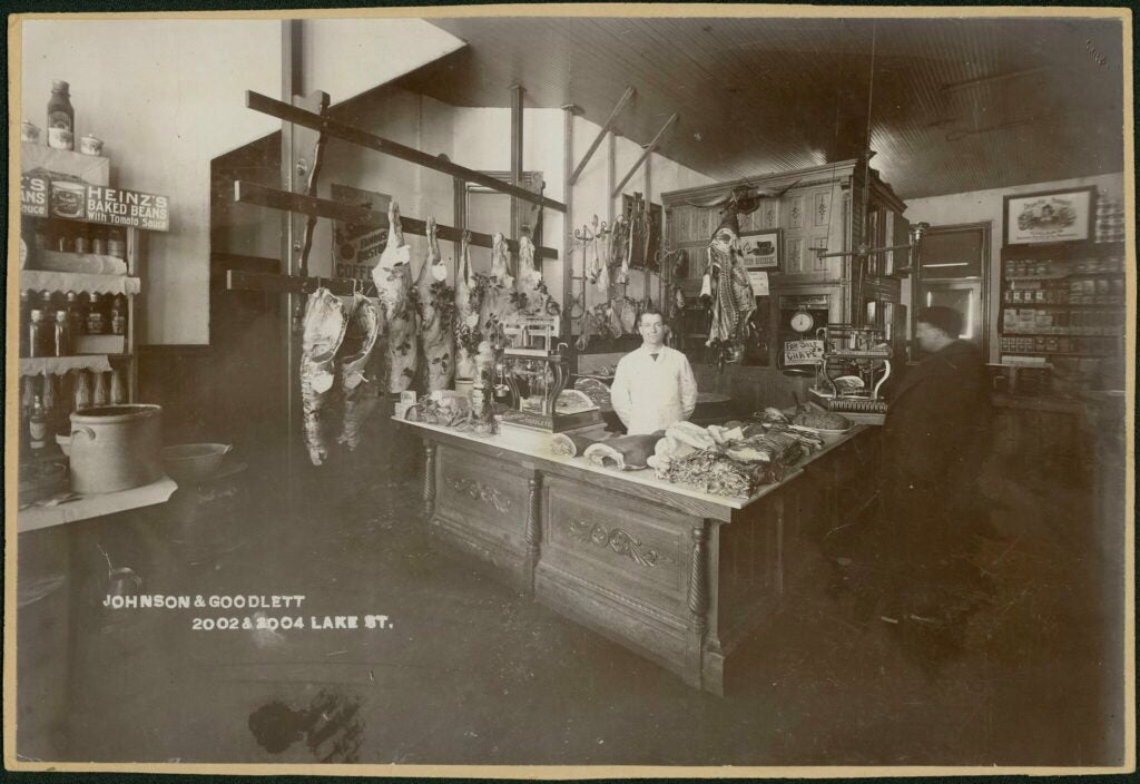 old photo from a butcher shop in 1915
