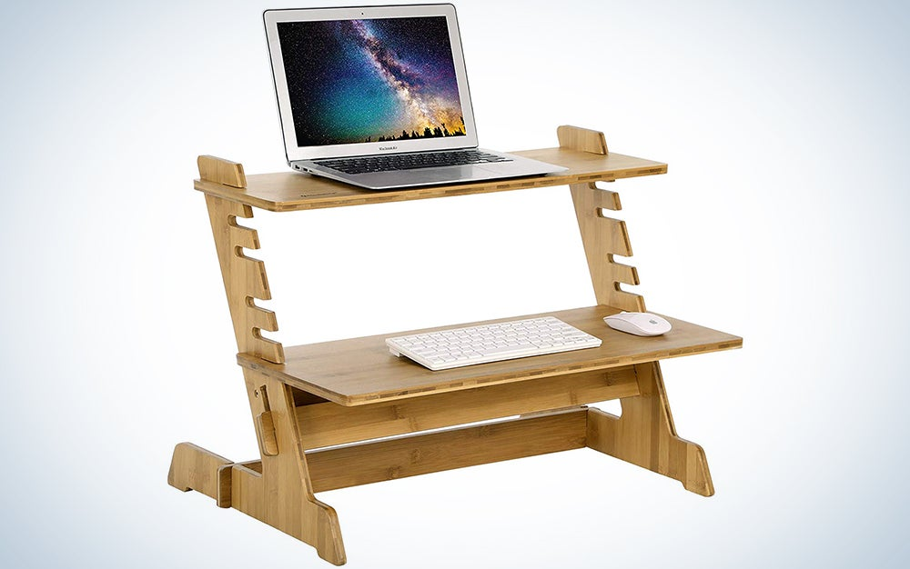 Songmics Bamboo Standing Computer Desk