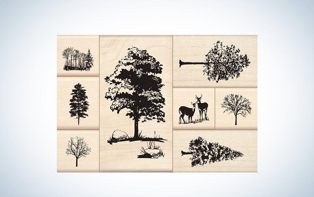 Inkadinkado Trees Mounted Rubber Stamp Set