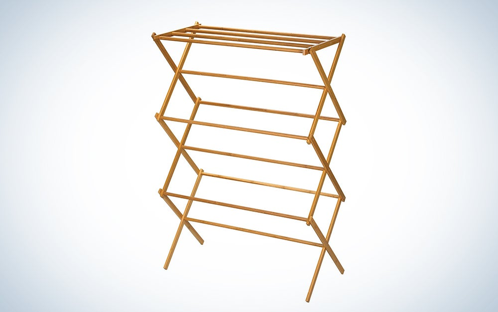 Household Essentials Indoor Folding Wooden Clothes Drying Rack