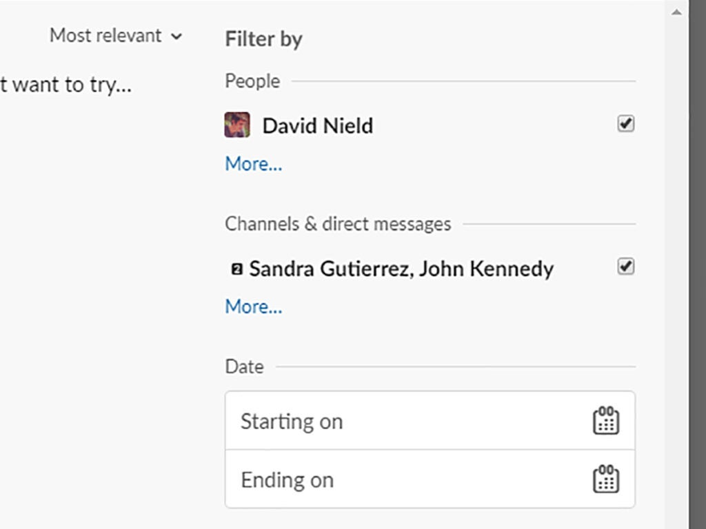 Screenshot of the Slack search results page