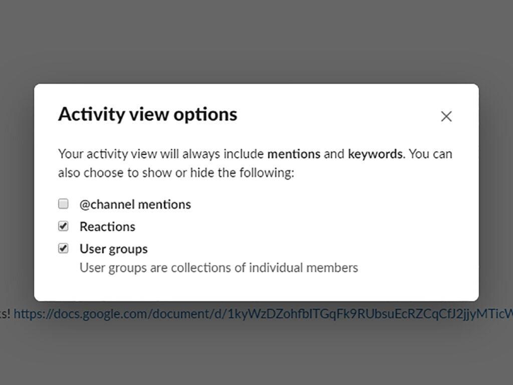 Screenshot of Slack Activity options menu