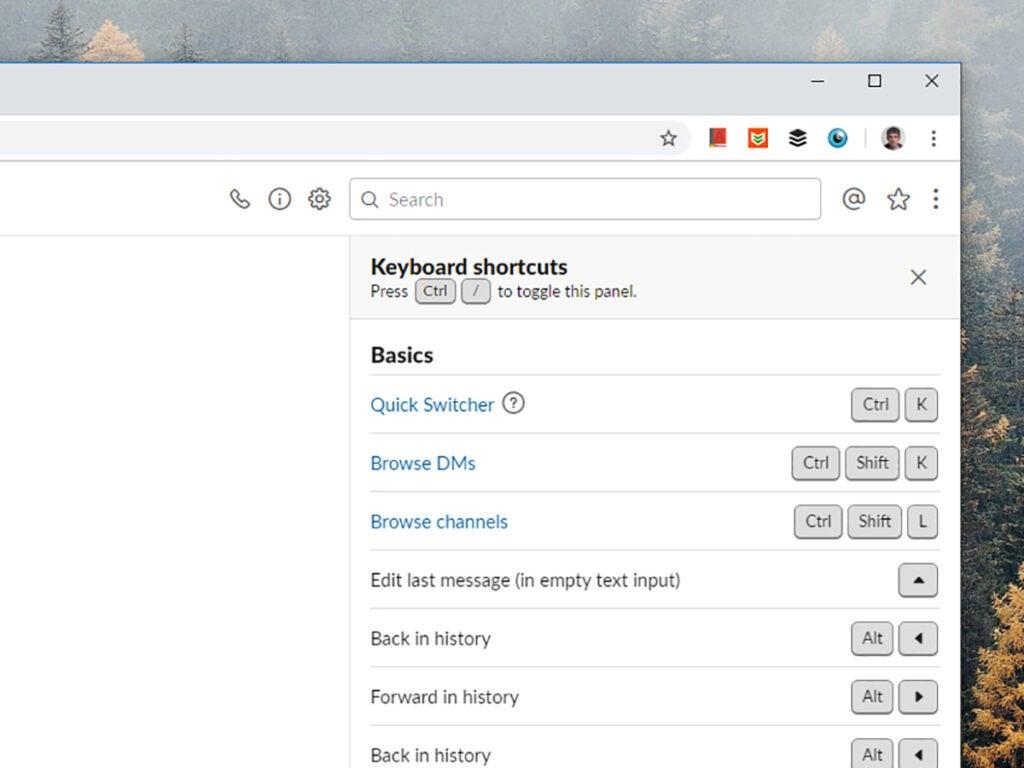 Screenshot of Slack-shortcut options menu
