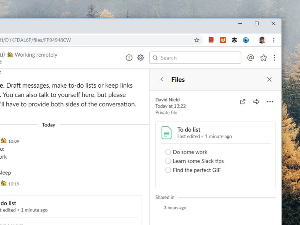 Screenshot of Slack to do lists