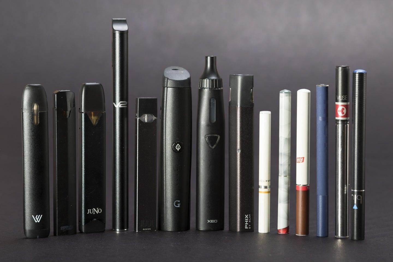 a lineup of vape pens and e-cigarettes