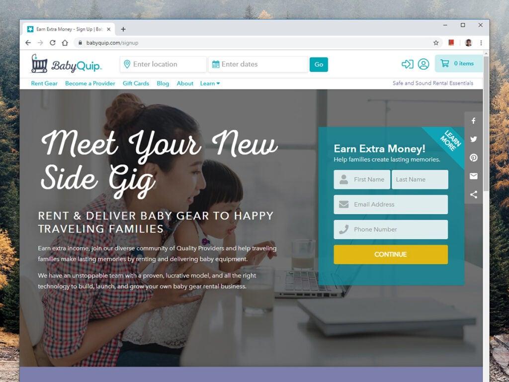 a screenshot of BabyQuip's website