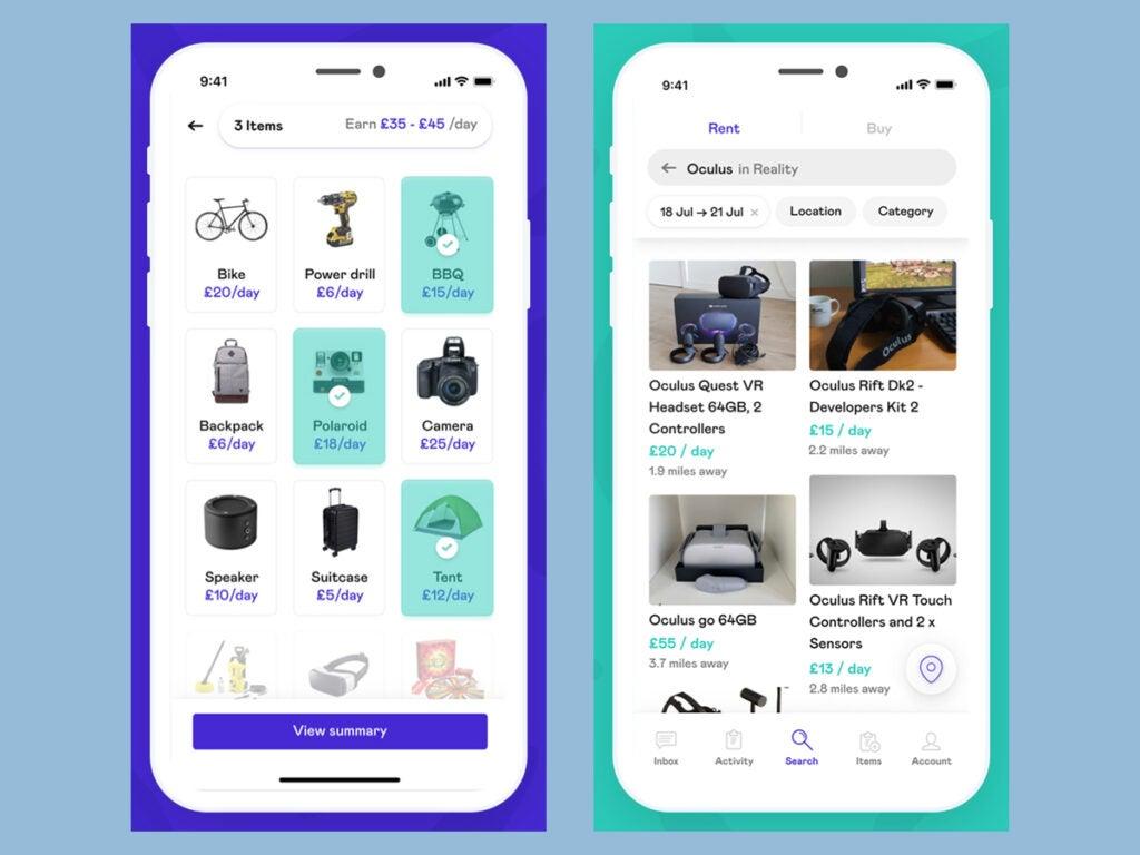 screenshots of the Fat Llama app interface