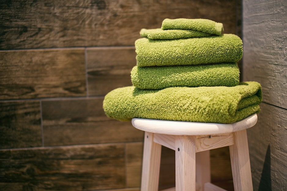 towels on a stool