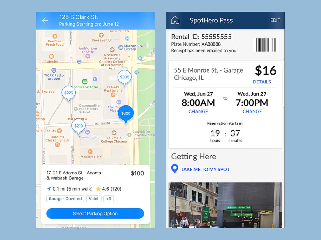 the SpotHero app interface, showing parking spots and prices