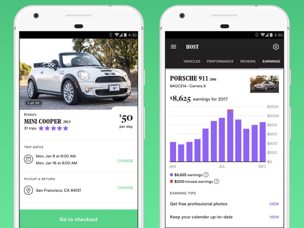 screenshots of the Turo app interface, with a mini cooper and a Porsche 911, plus some money graphs