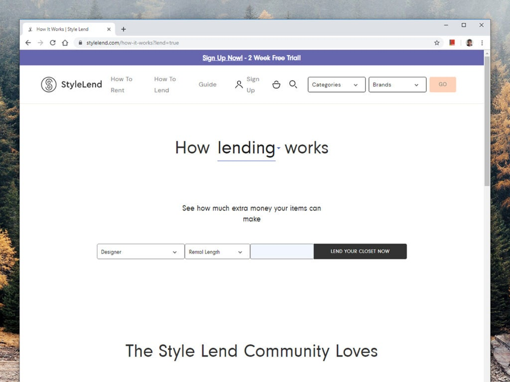 a screenshot of Style Lend's website
