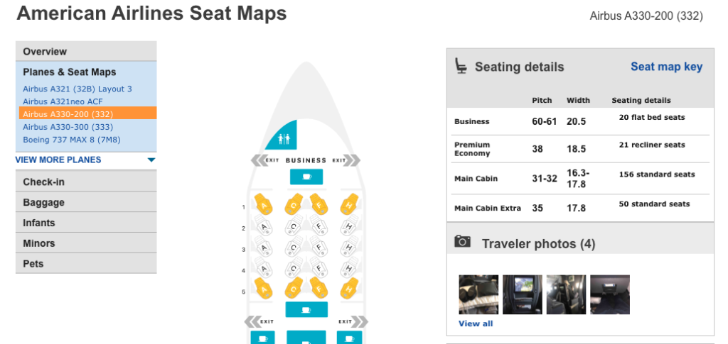Screenshot of Seat Guru for American Airlines aircraft