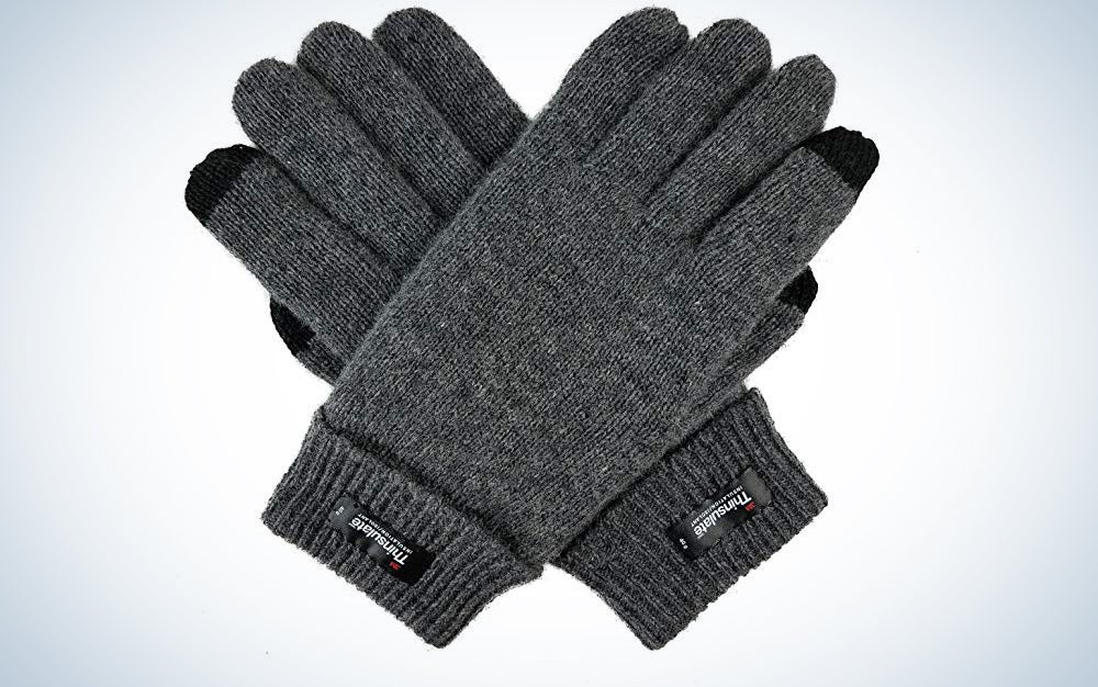 Bruceriver Men's Pure Wool Knitted Gloves with Thinsulate Lining