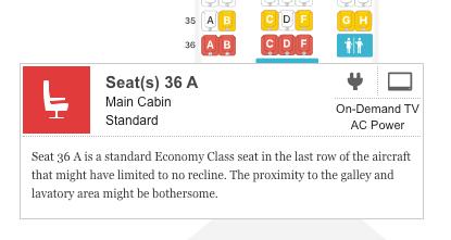 Screenshot of Seat Guru for a no recline seat