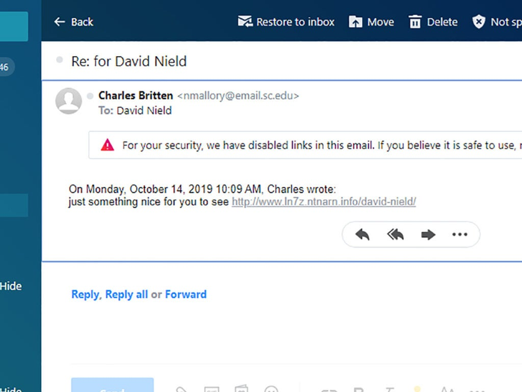 Screenshot of email phishing security