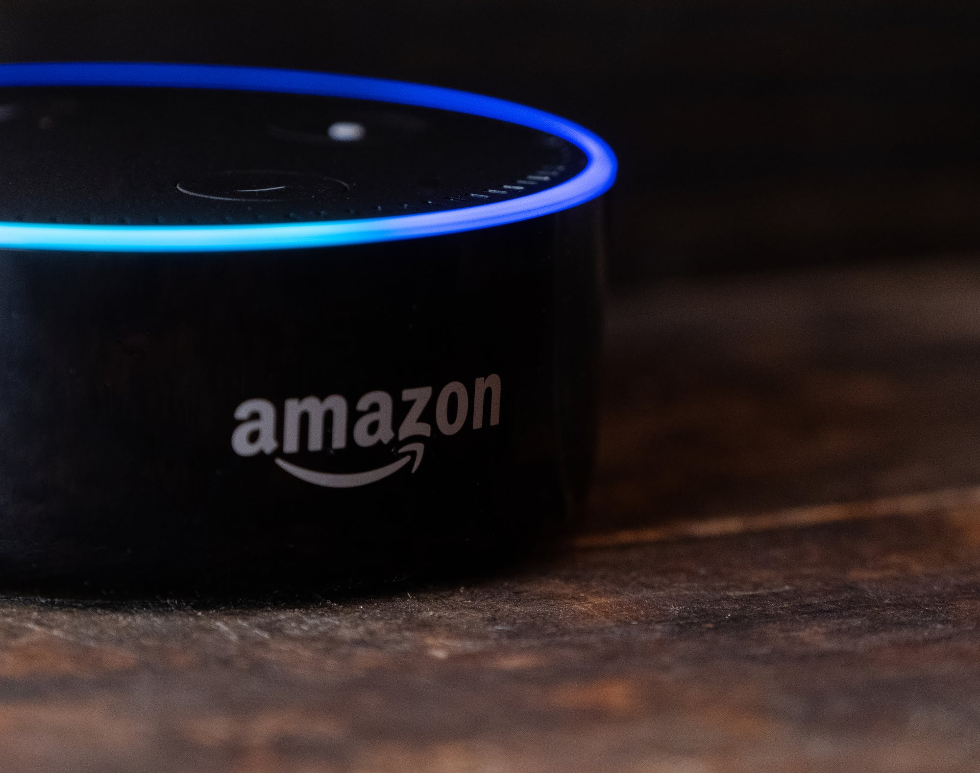 Close-up of an amazon echo on a wooden table