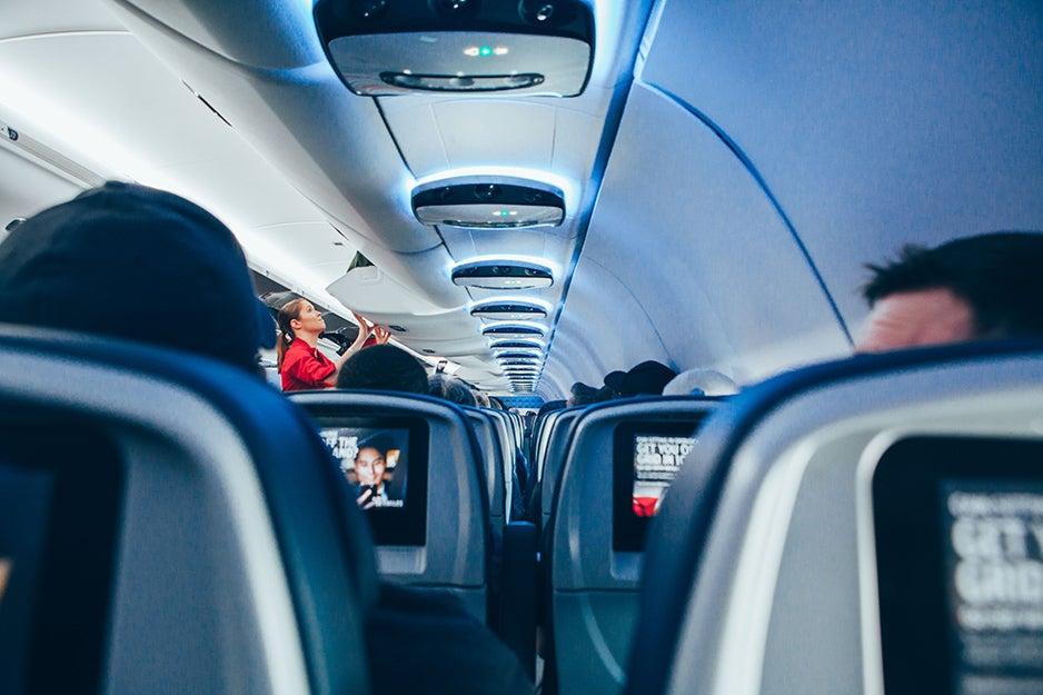 inside of a plane cabin