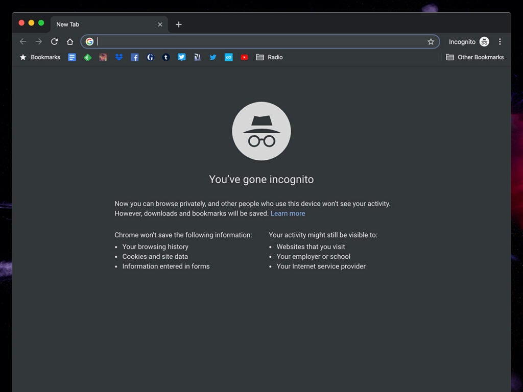 Screenshot of incognito on google chrome
