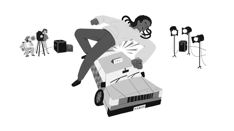 Stuntwoman hit by car illustration