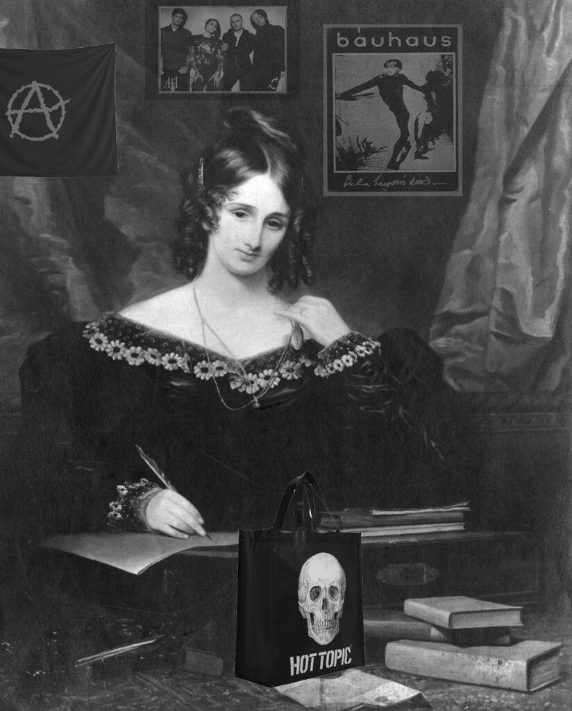 Mary Shelley with goth music posters photoshopped onto her wall