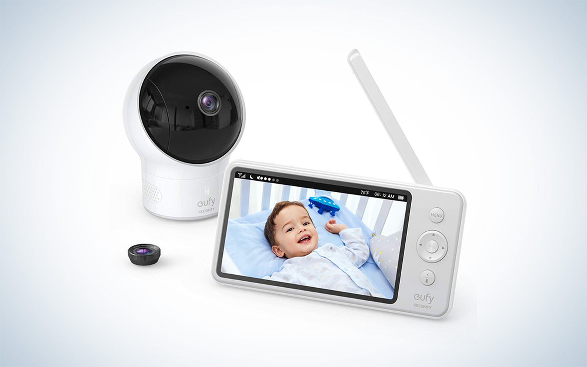 Baby Monitor, eufy Security Spaceview S Video Monitor, Peace of Mind for New Moms, 5 inch LCD Display, 110° Wide-Angle Lens Included, 720p HD, Lullaby Mode, Night Vision, Day-Long Battery, Crib Mount