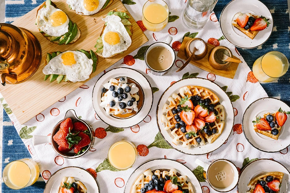breakfast foods on a table