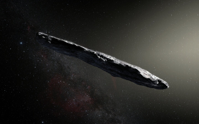 artists impression of a cigar shaped interstellar objecct