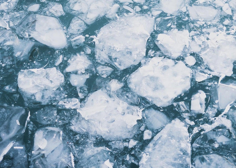 Broken ice on water