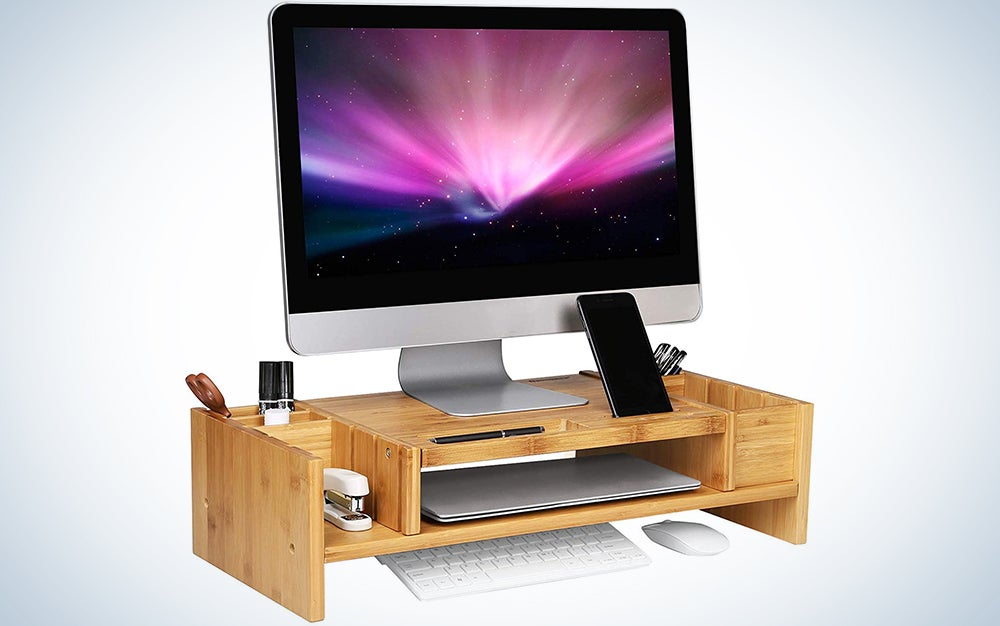 Songmics Bamboo 2-Tier Monitor Stand Riser