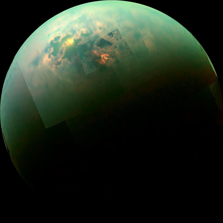 an infrared composite photo of titan
