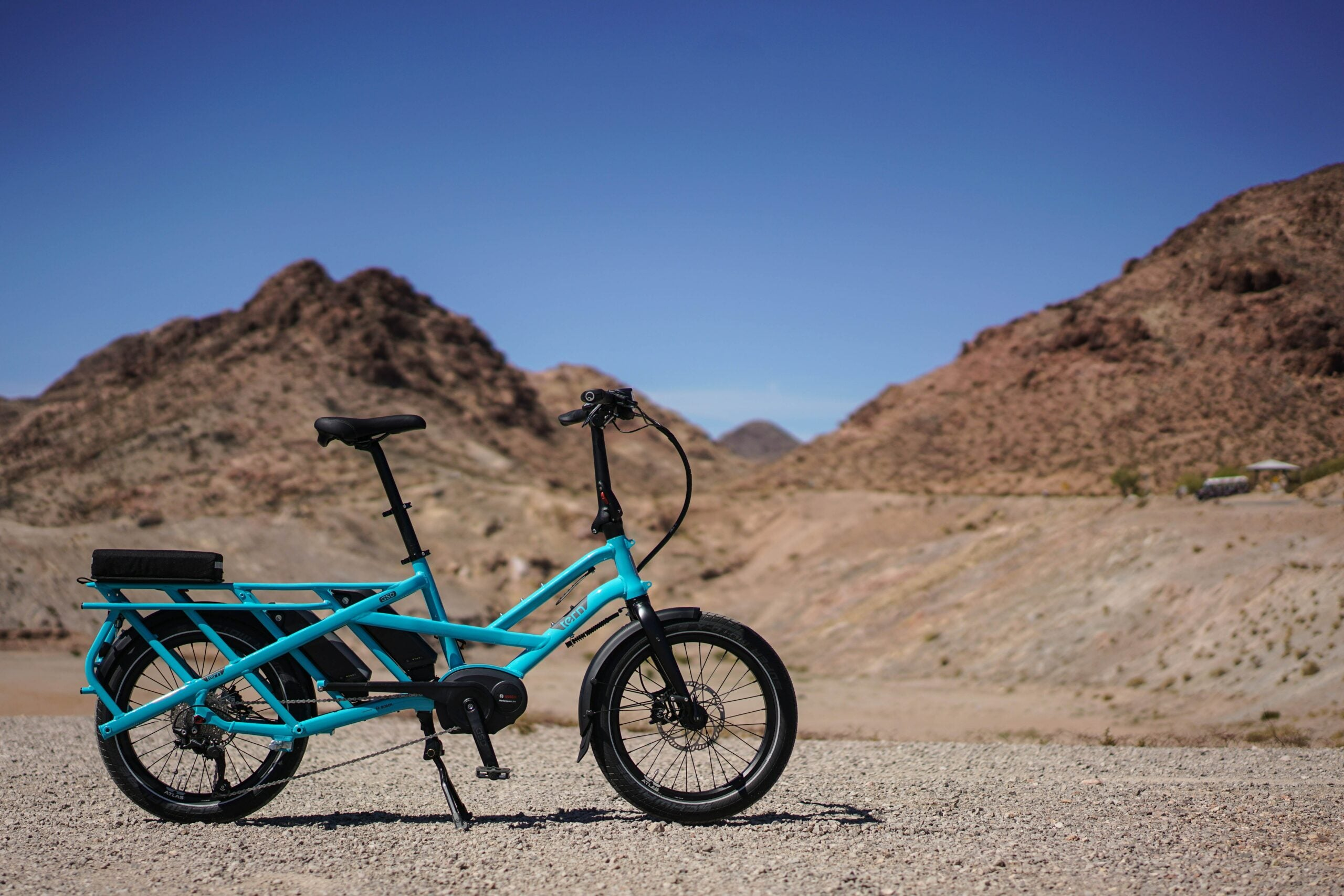 A motorized bike on a desert landscape